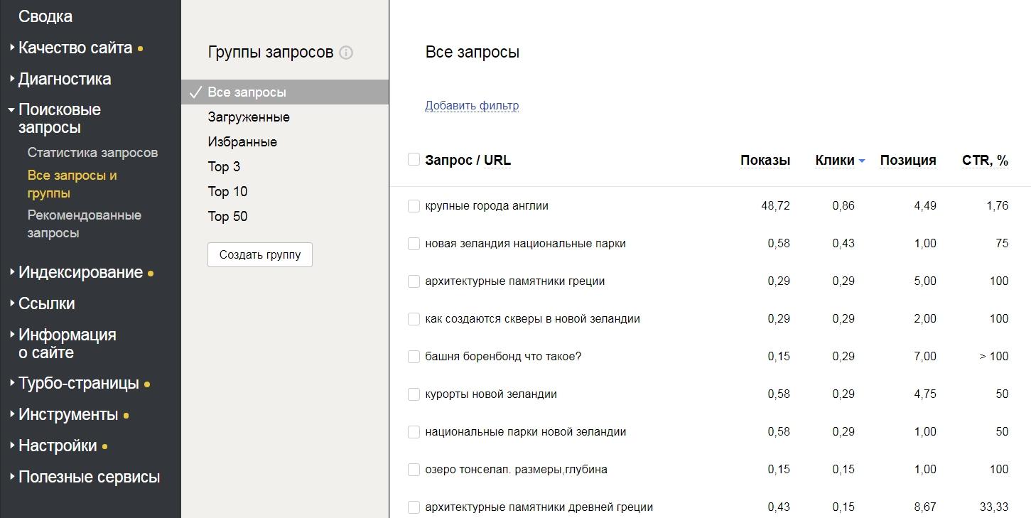 Проверка позиций в вебмастере Яндекс